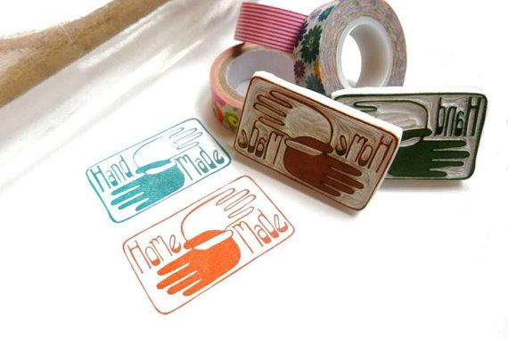 Brand NEW 'Home Made' Or 'Hand Made'  Stamp, You Pick, Scandinavian Mod Rubber Stamp Logo, Unique Way to Say I Made It, Label Rubber Stamp on Etsy, € 16,60