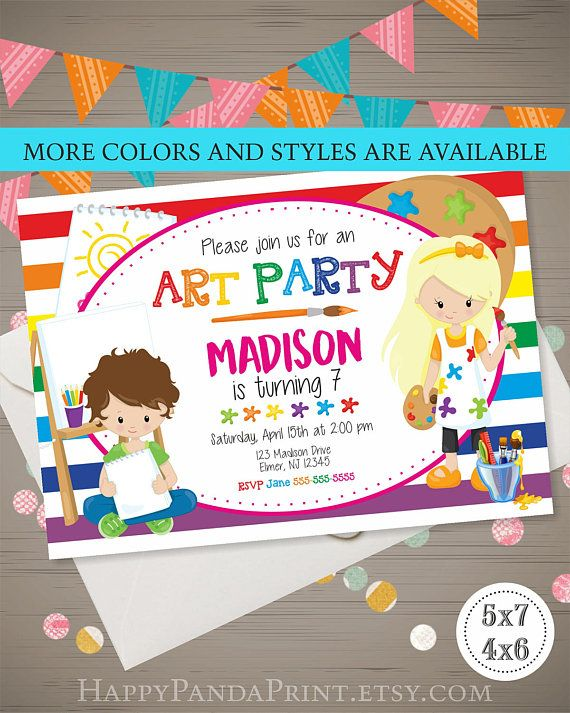 Art party invitation art party birthday invitation rainbow art party art party invitation art party birthday invitation rainbow art party kids art party art birthday party art party invite kids paint party stopboris Images