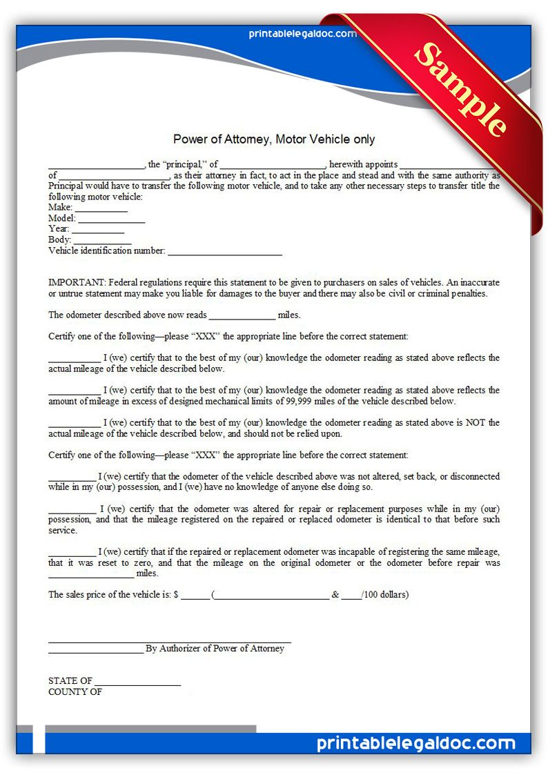 Free Printable Power Of Attorney, Motor Vehicle Only Form