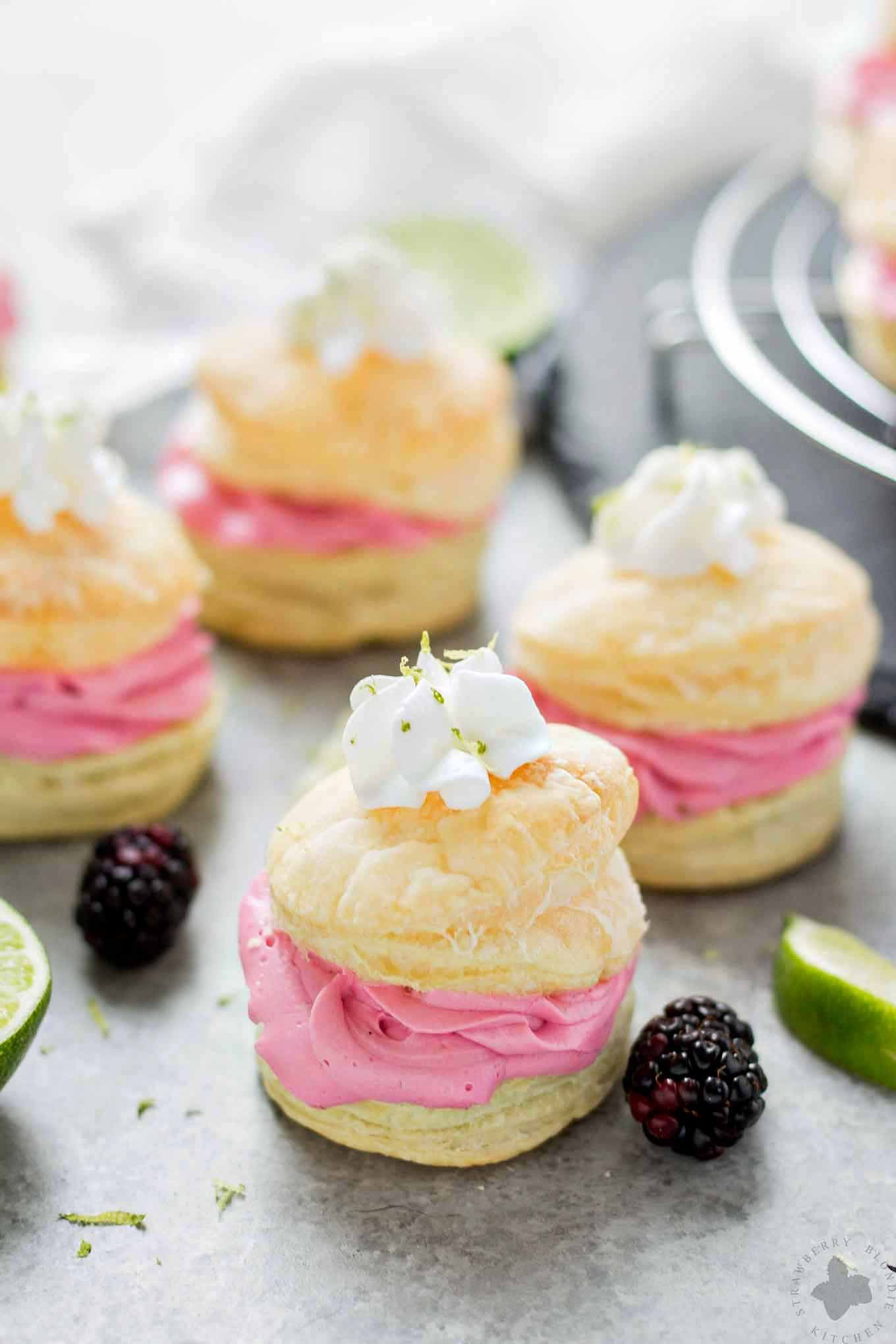 These elegant but simple, Blackberry Lime Buttercream Puffs are sweet, creamy and light. They're filled with a delicious homemade lime curd and fresh blackberry compote.