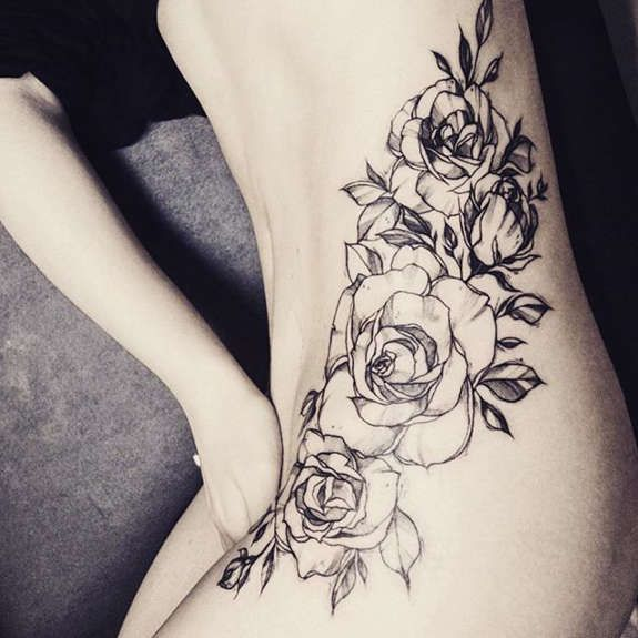 Black Ink Rose Tattoo On Girl Right Hip: White Rose Tattoos Done Awesomely On Her Hip Area