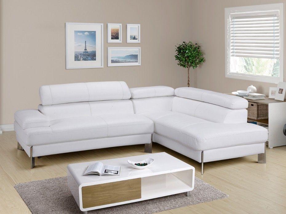 Canapé d angle en cuir Blanc LITTORAL Angle droit pas cher leds
