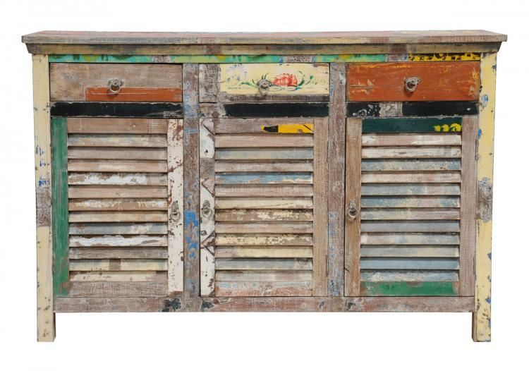 Vintage Multi Colored Shutter Cabinet Spectacular Reclaimed Wood Distressed  | EBay