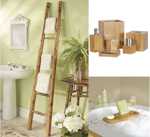 Green Bathroom With Bamboo Accents Greenbaygirl With Images