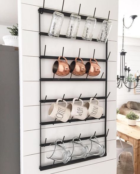 Coffee Mug Holder For The Wall Shiplap Wall Diy Kitchen On A Budget Small Kitchen Storage