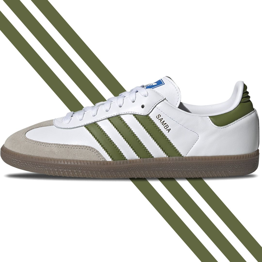 Stunning 80s Adidas Samba Leather In White Olive With Gum Sole