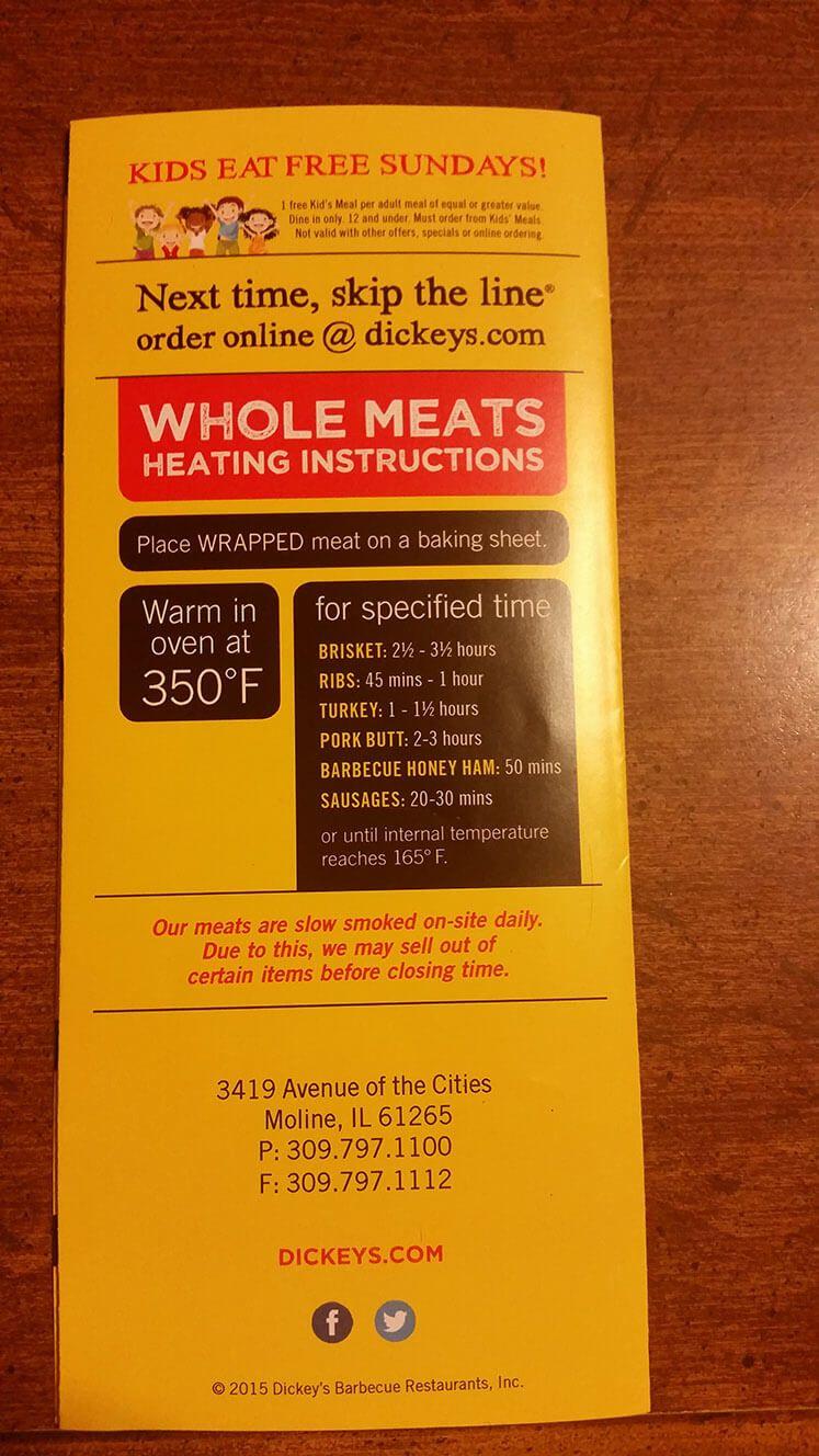 dickeys menu u2013 3 menu prices pinterest menu rib meat and