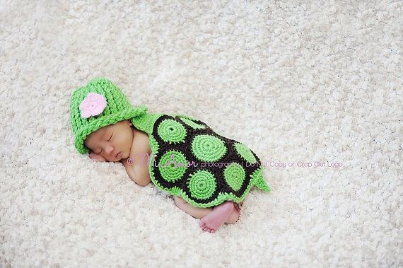 Turtle hatchling hat with removeable crochet by SandrasGifts, $40.00