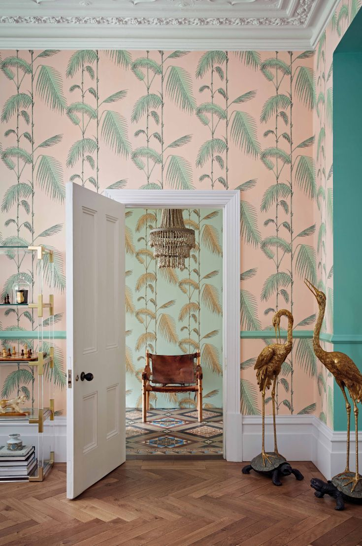 Cole and Sons Palm Leaves has been re-styled with this blush pink and minty green colourway.