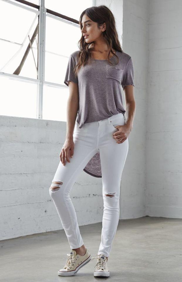 Bullhead Denim Co. Worn White Ripped Low Rise Skinny Jeans ...