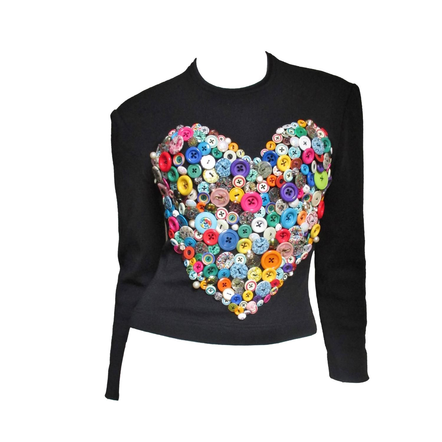 Iconic Patrick Kelly Button Heart Top | From a collection of rare vintage shirts at https://www.1stdibs.com/fashion/clothing/shirts/