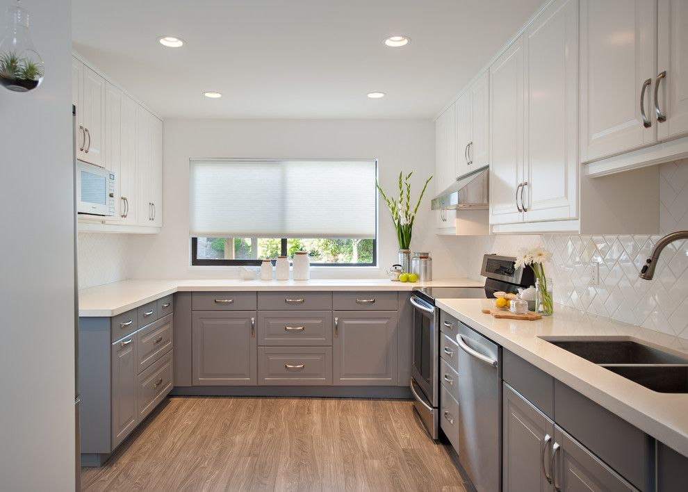 Gray And White Roman Shade Kitchen Traditional Amazing Ideas With Mix And  Match Two Tone Cabinets