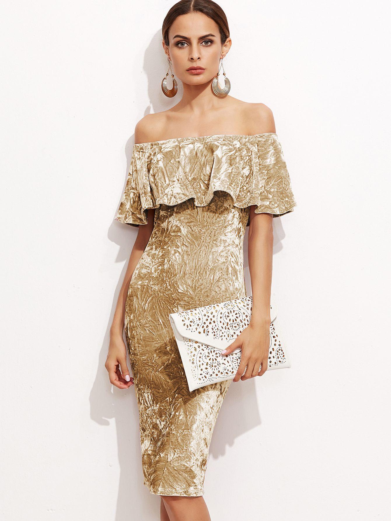 Bardot Crushed Velvet Frill Dress | Crushed velvet, Ruffle dress ...