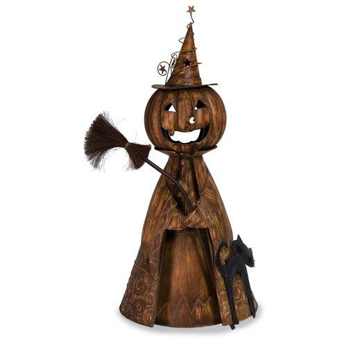 IMAX Halloween Wicked Witch Jack O\u0027Lantern with Black Cat and Broom - asda halloween decorations