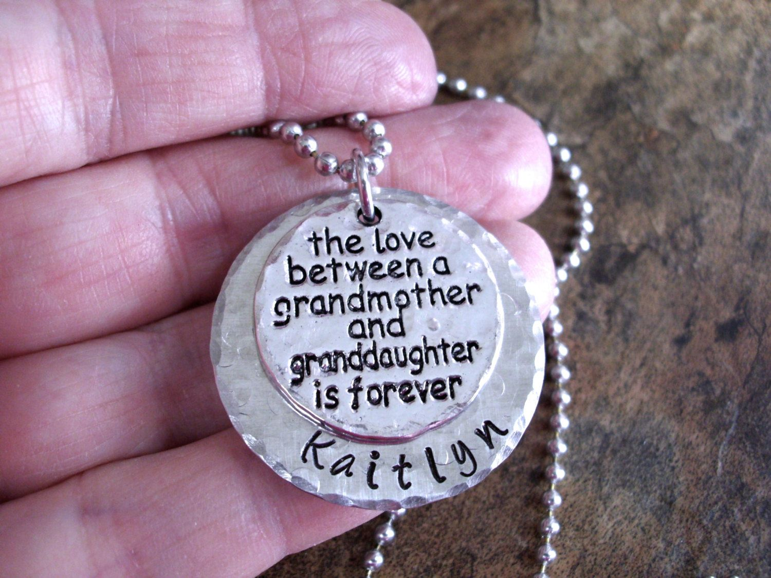 grandmother and granddaughter jewelry hand stamped jewelry