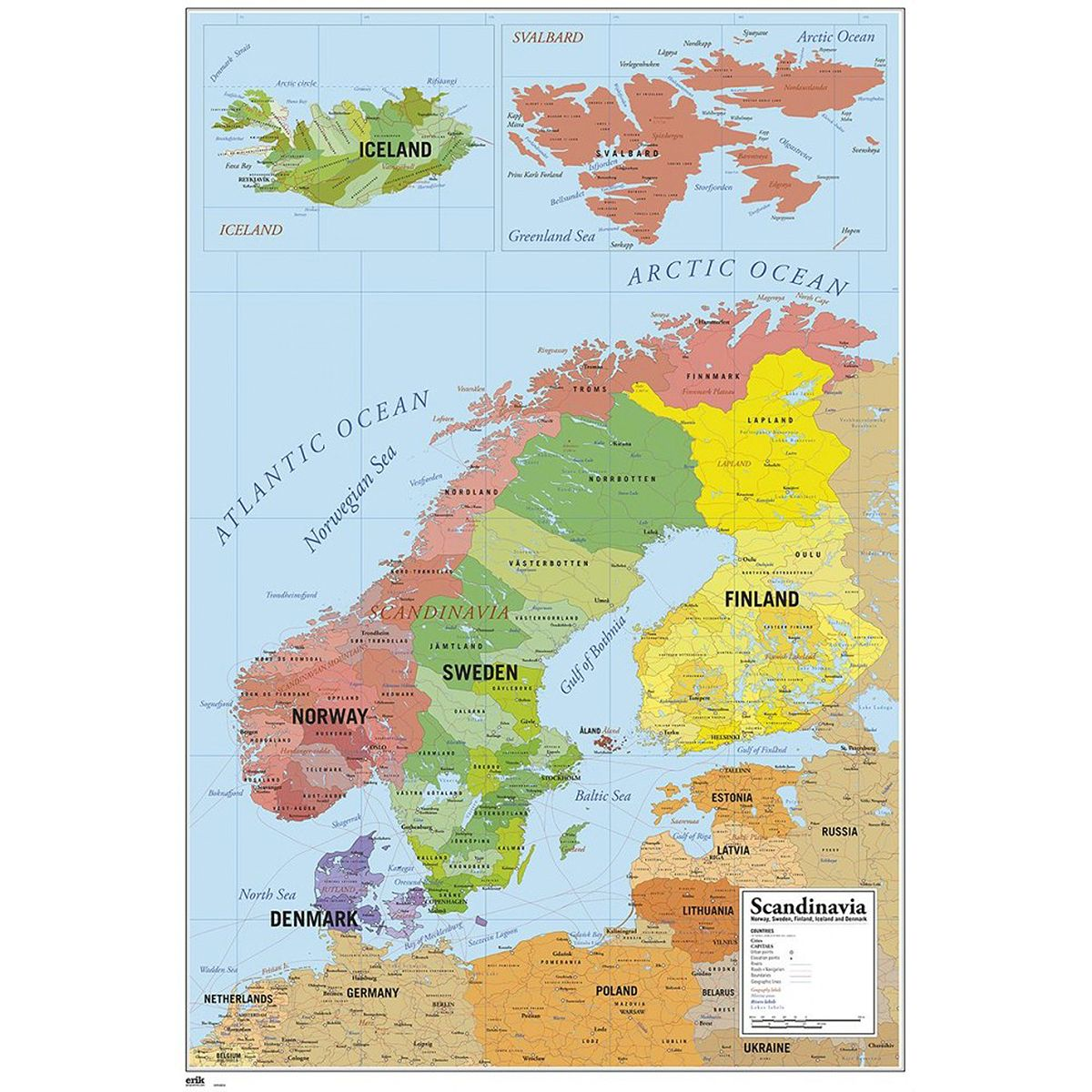 Karte Von Skandinavien Poster In 2020 Landkarten Poster