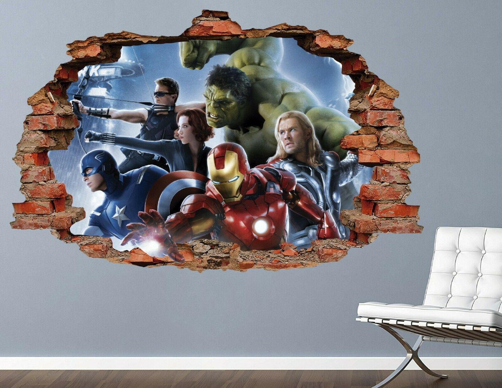 Details About Avengers Group Combat Brick Wall Decal Smashed 3d