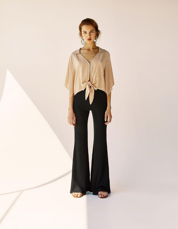 destul de frumos stil de moda arătos Pantaloni flare din reiat   Clothes, Bell bottoms, Trousers