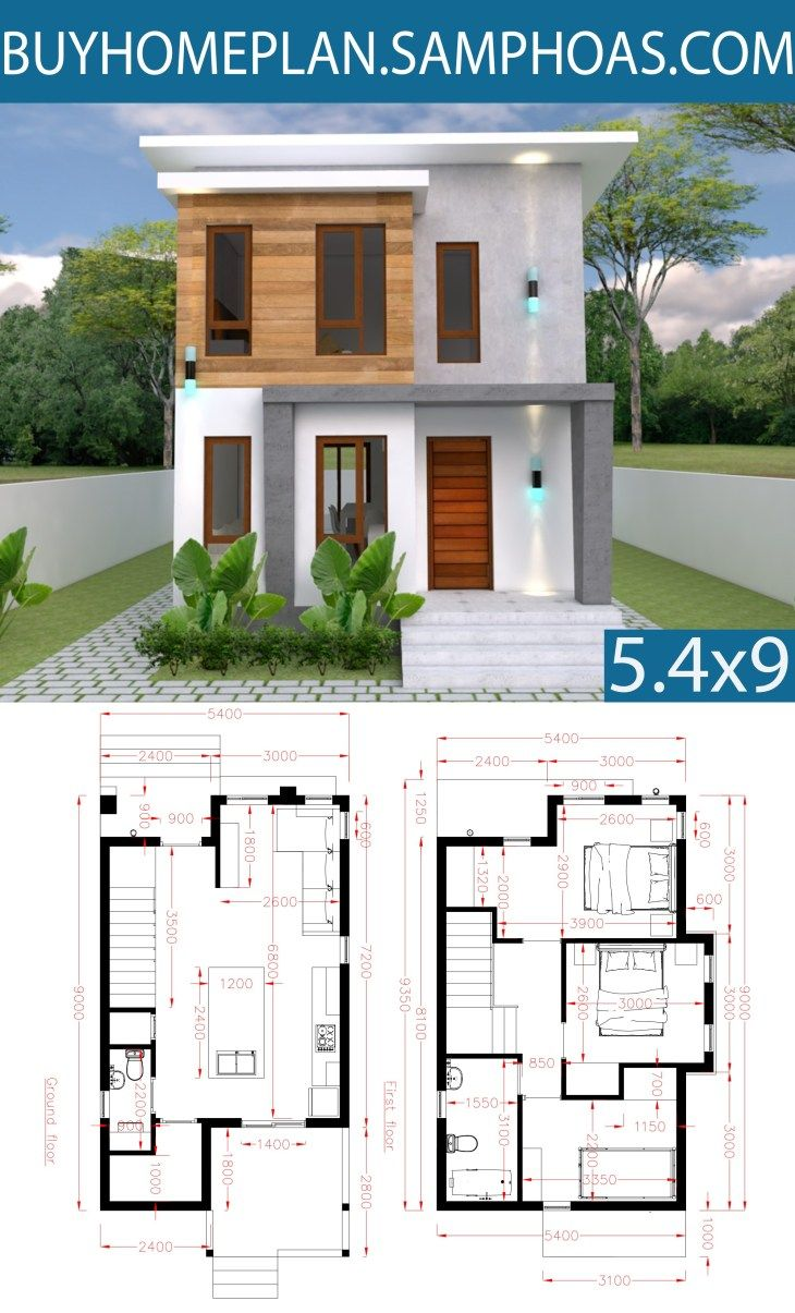 Small Home Design Plan 5 4x10m With 3 Bedroom Samphoas Com House Front Design Model House Plan Small House Design Plans