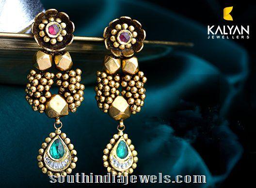 Kalyan Jewellers Antique Designer Earrings | Designers ...  Davanam