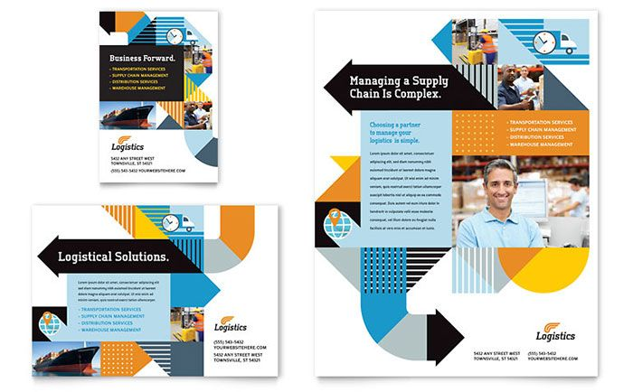 Logistics and Warehousing Flyer and Ad Template Design by ...