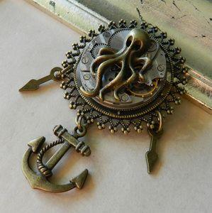 Image of Steampunk Sky Kraken Clockwork Brooch