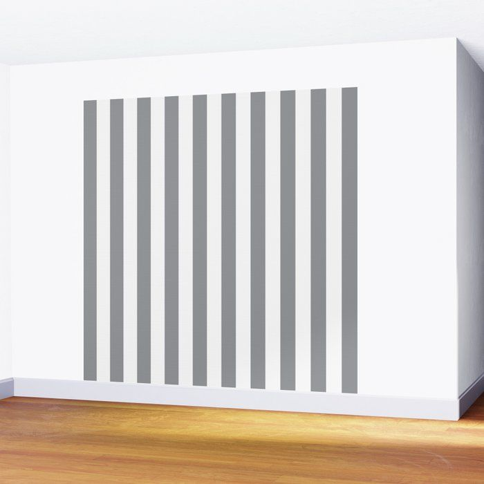 Vertical Grey Stripes Wall Mural by coolfunawesometime