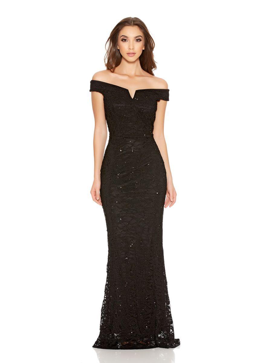 064ff9a7682 Black Sequin Lace Bardot Fishtail Maxi Dress