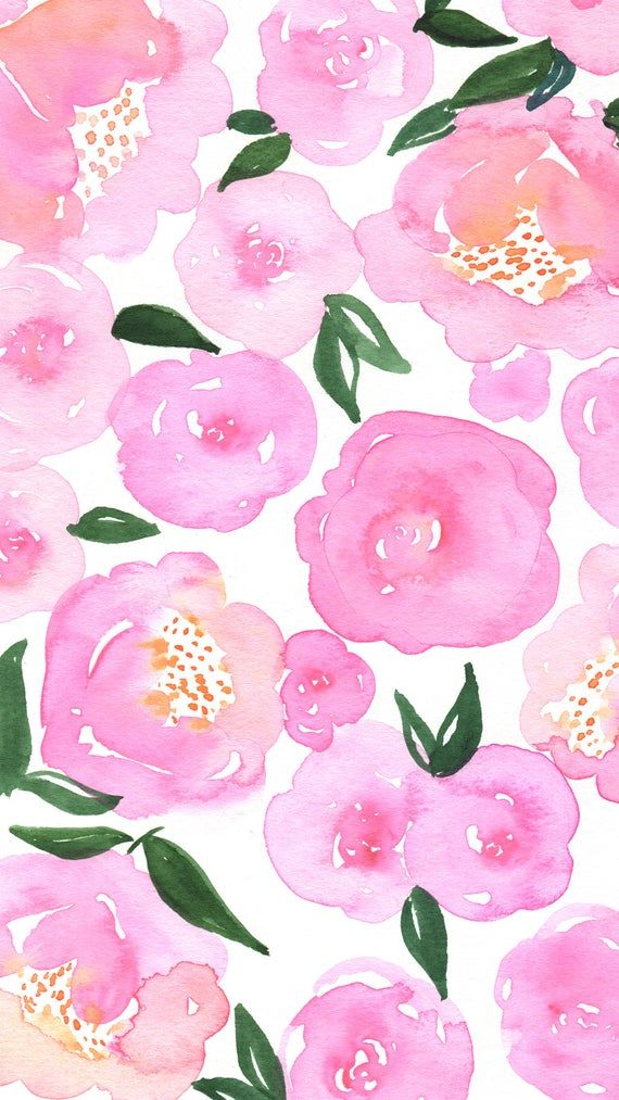 Pink Floral Watercolor Phone Background (Works for iPhone 6, iPhone 7, iPhone 6/7 Plus, iPhone 5, iPhone 4, and Android Phones)