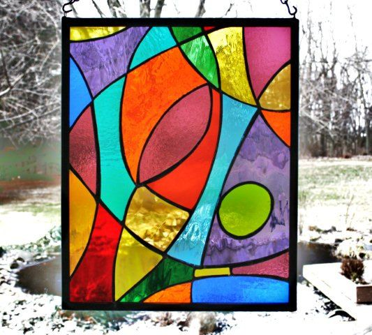 Stained Glass Panel Abstract Modern On Etsy 99 00