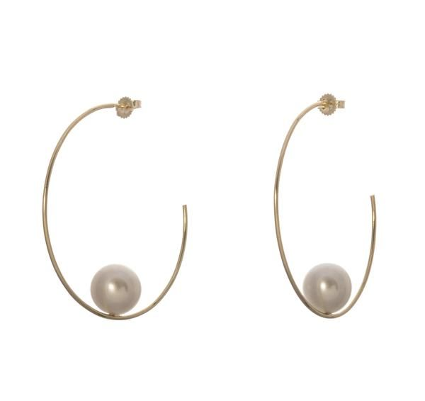 Mizuki Floating Pearl Hoop Earrings VoBRphh