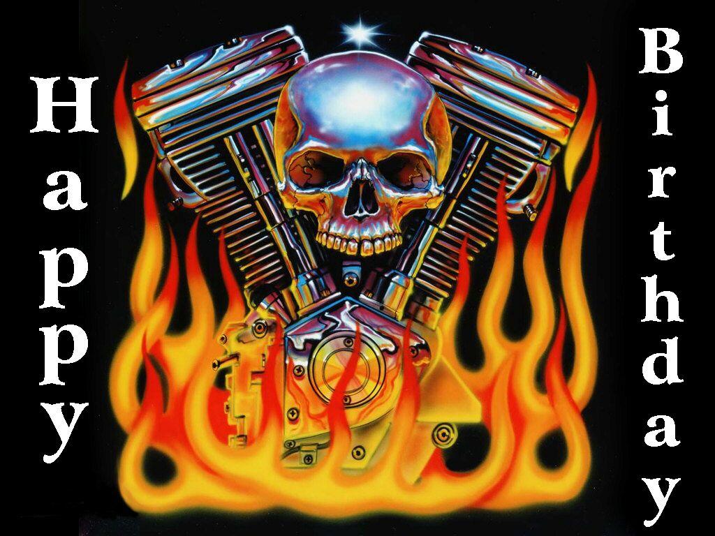Happy Birthday Skull With Images Harley Davidson Art Harley