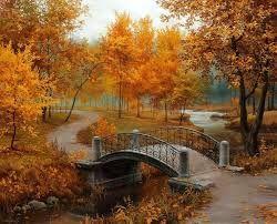 Bridge Art Tree River Autumn
