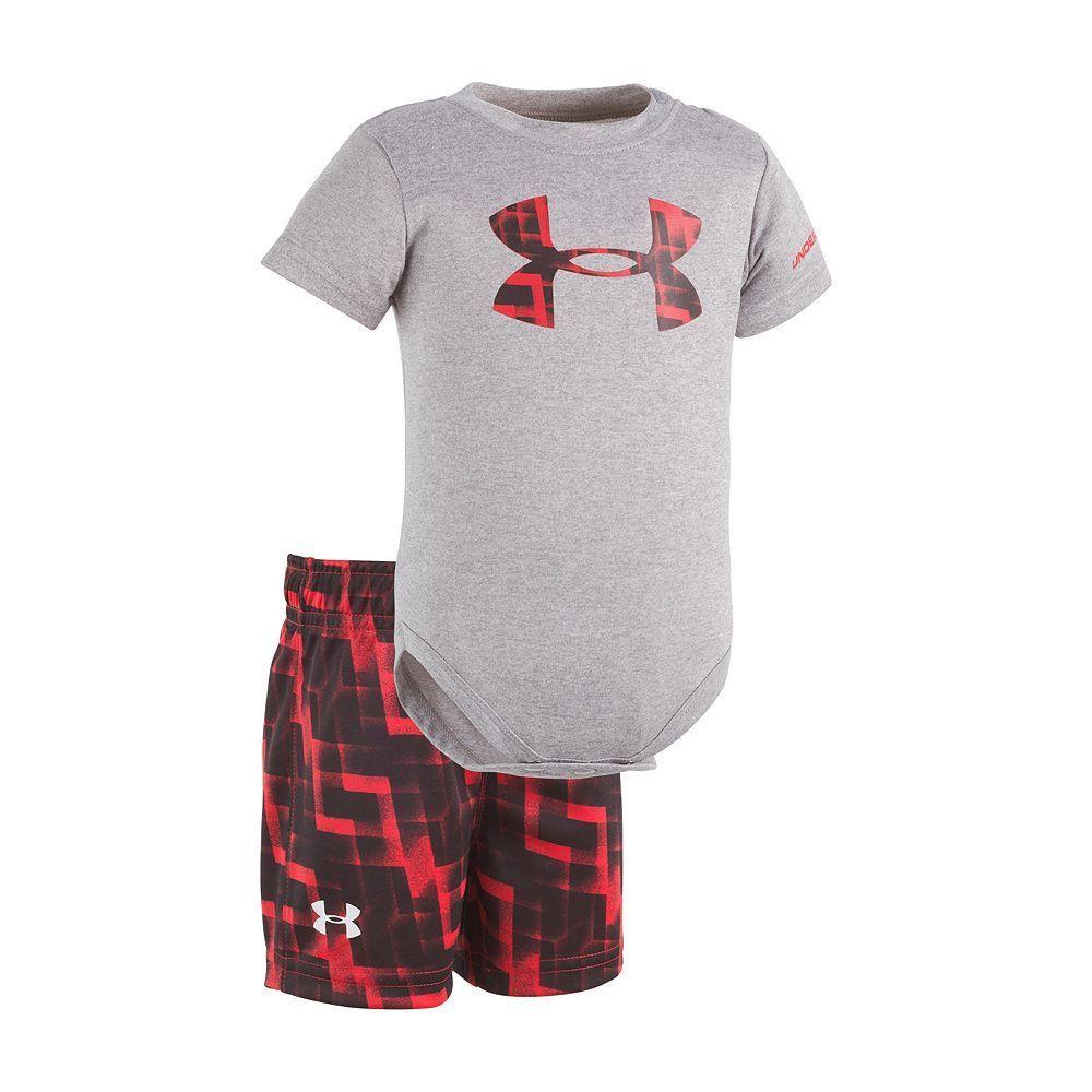 Baby Boy Under Armour Graphic Logo Bodysuit Geometric Shorts Set