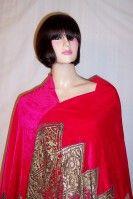 Most Magnificent 1920's Cerise Silk Velvet Shawl/Metallic Lace thumbnail 5