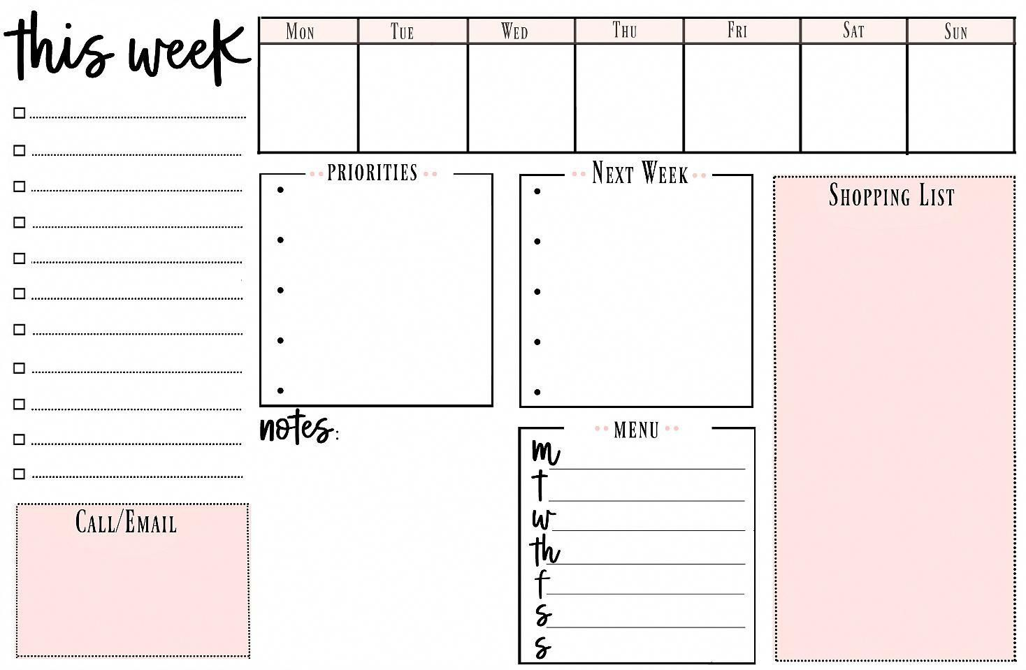 Weekly Printable To Do List For Getting Organized