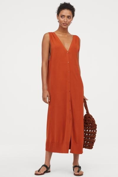 38da9230719108 Fijngebreide jurk - Oranje - DAMES