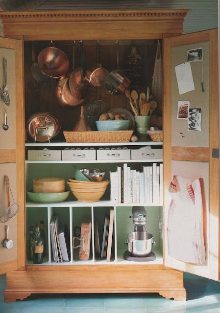 Using an armoire for kitchen storage