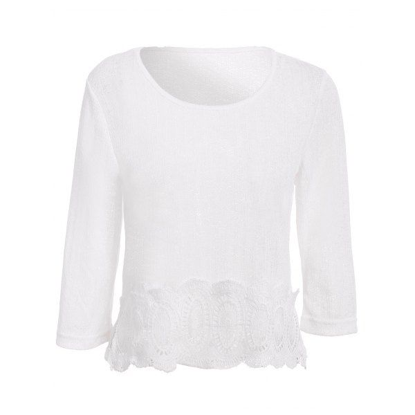 Stylish Spliced Scoop Neck 3/4 Sleeve Women's Sweater — 9.67 € --Size: L Color: WHITE