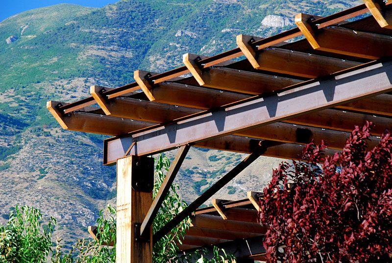 Steel and rough sawn pergola Pergola shade, Pergola