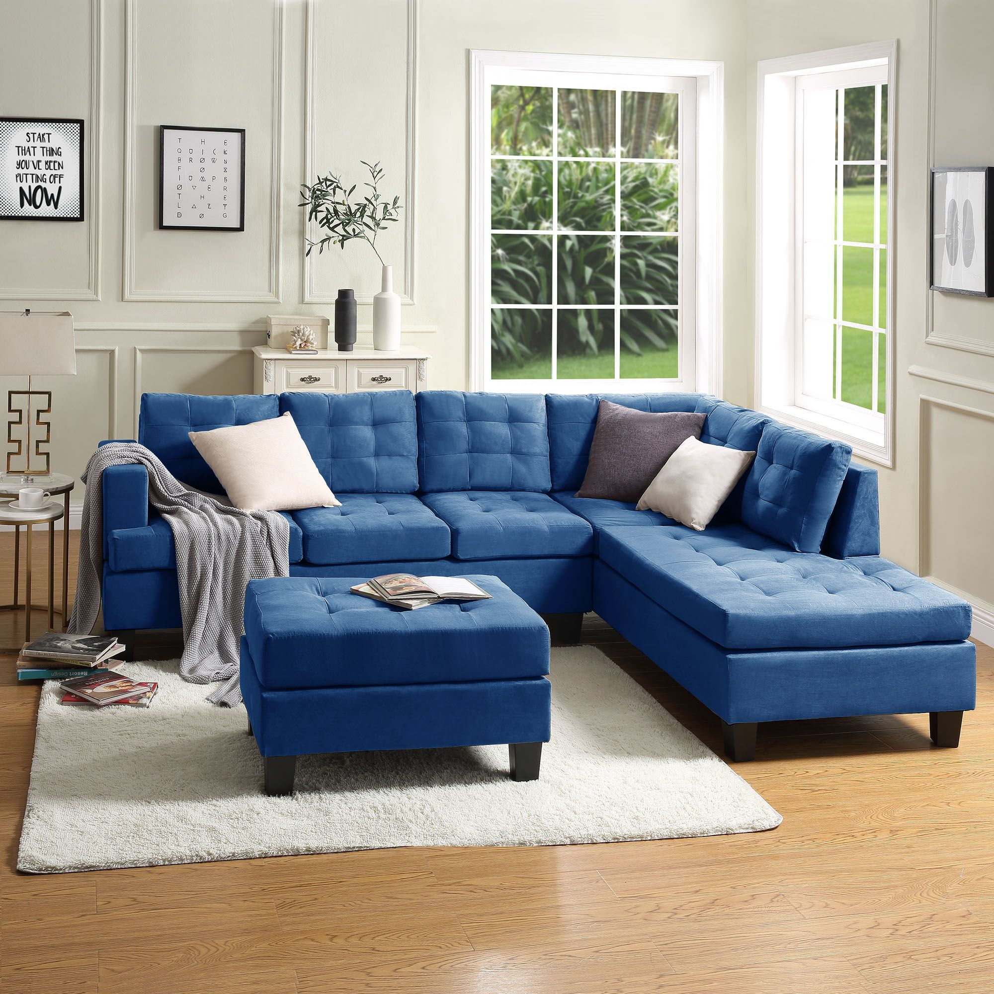Sectional Sofa 105 L Shape Sectional Couch With Reversible Chaise Solid Wood Frame And Legs Couches And Sofas Mid Century Sofa Couch With Modern Fabric Otto Blue Living Room Sets Blue Living