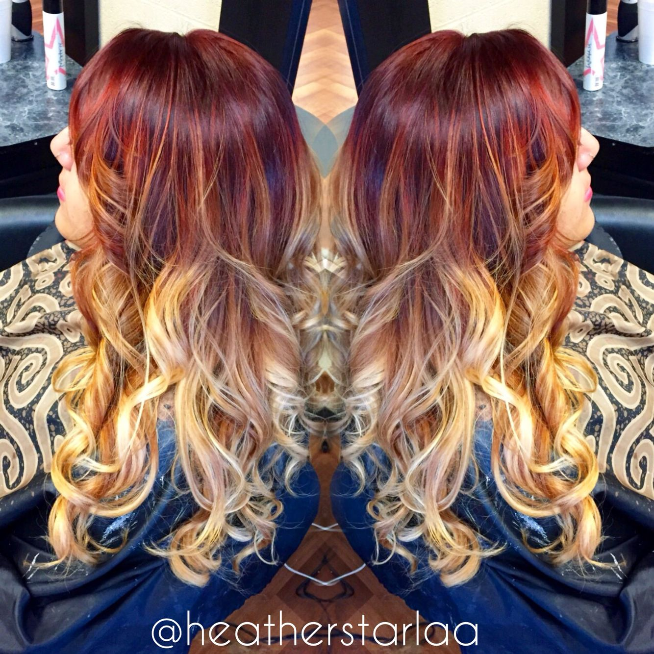 Red And Copper Going Into Blonde Balayage Ombre Hair Color