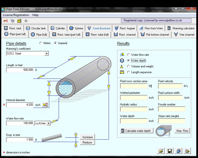 Pipe Flow Advisor Software - Open Channel Flow | Mechanical