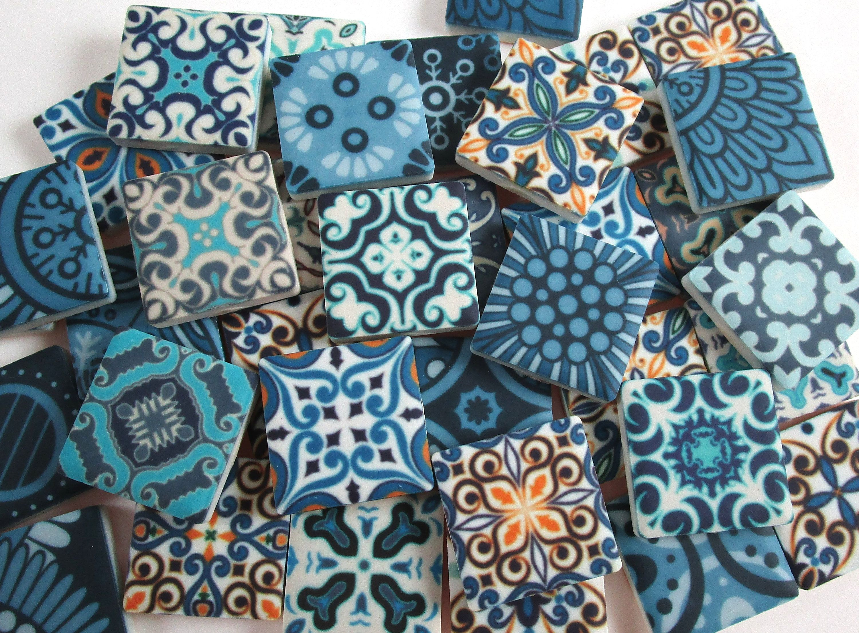 Ceramic Mosaic Tiles Premium Matte Finish 1 Inch 36 Piece Set Vintage Moroccan Mixed Mosaic Tiles Mosaic Making Perfect For Jewelry Ceramic Mosaic Tile Mosaic Tiles Mosaic