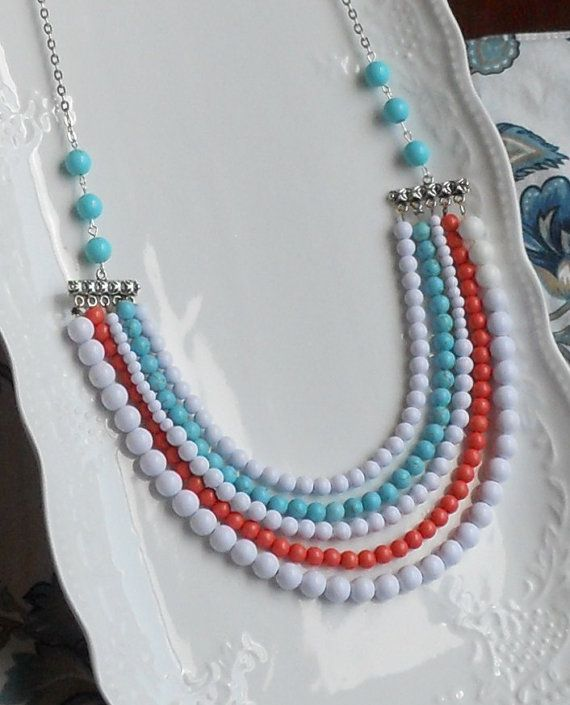 Summer Colors Statement Necklace   by AdornmentsbyWendi on Etsy, $25.00