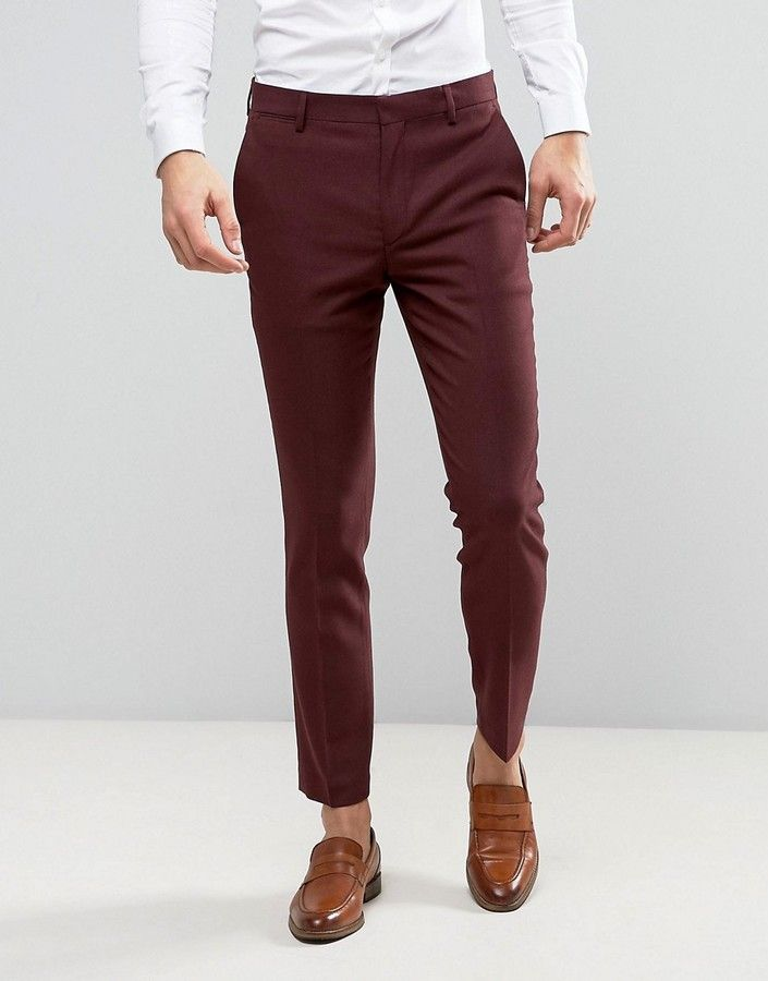6a48b24ae ASOS WEDDING Skinny Suit Pant In Burgundy Micro Texture | Men Jeans ...