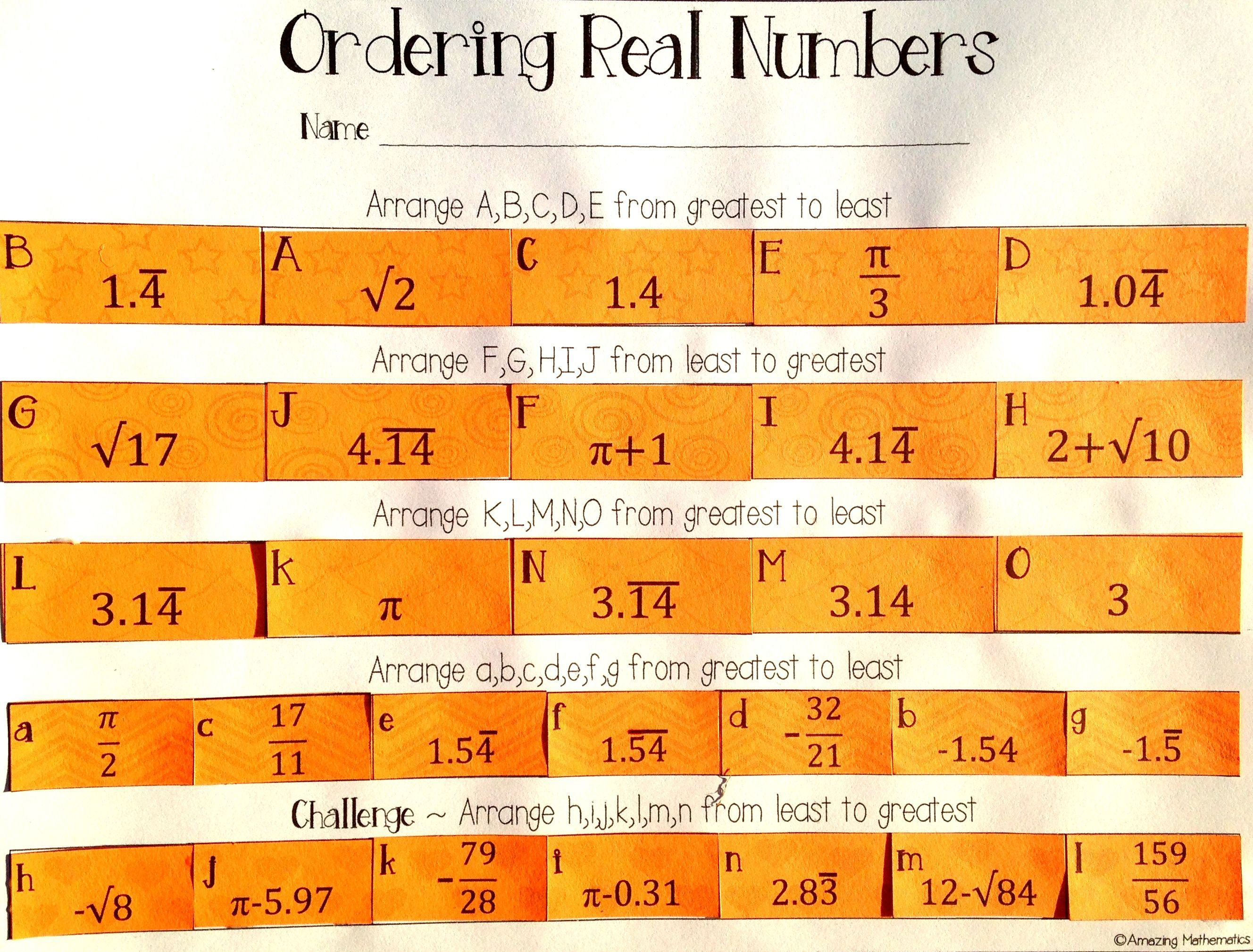 Ordering Real Numbers Activity Rational And Irrational Real Numbers Real Numbers Activity Number Worksheets