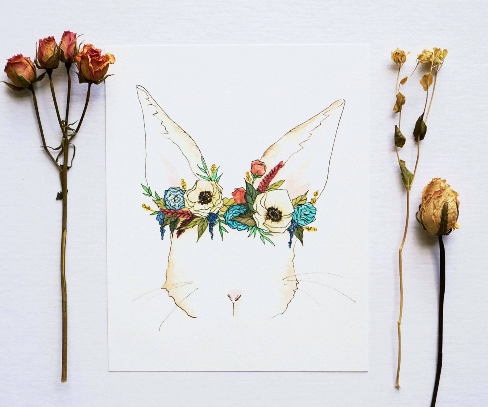 Bunny Flower Crown Watercolor Illustration And Print Print