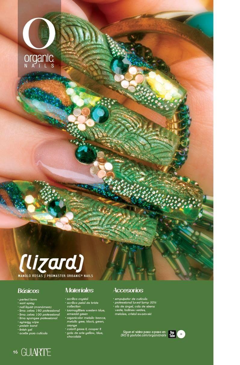 tropical lizard bling nails | mis creaciónes | Pinterest | Uñas ...