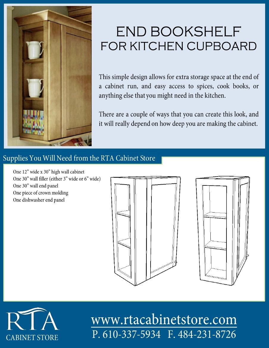 The rta cabinet store - Adding Extra Storage Space To The End Of Your Wall Cabinets By Creating A Book Shelf
